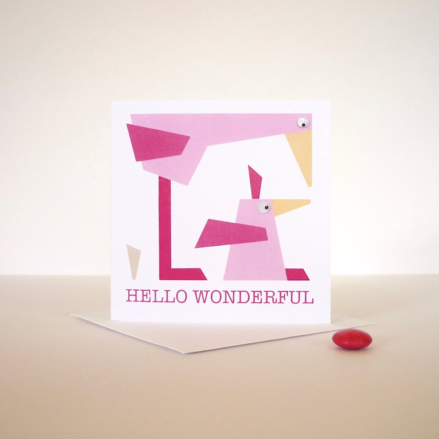 hello wonderful hand finished greeting card birds googly eyes