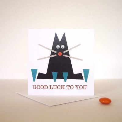 good luck hand finished greeting card black cat googly eyes