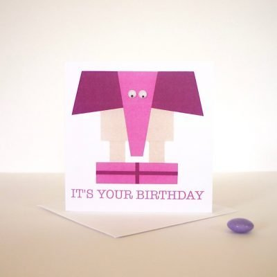 birthday hand finished greeting card elephant googly eyes