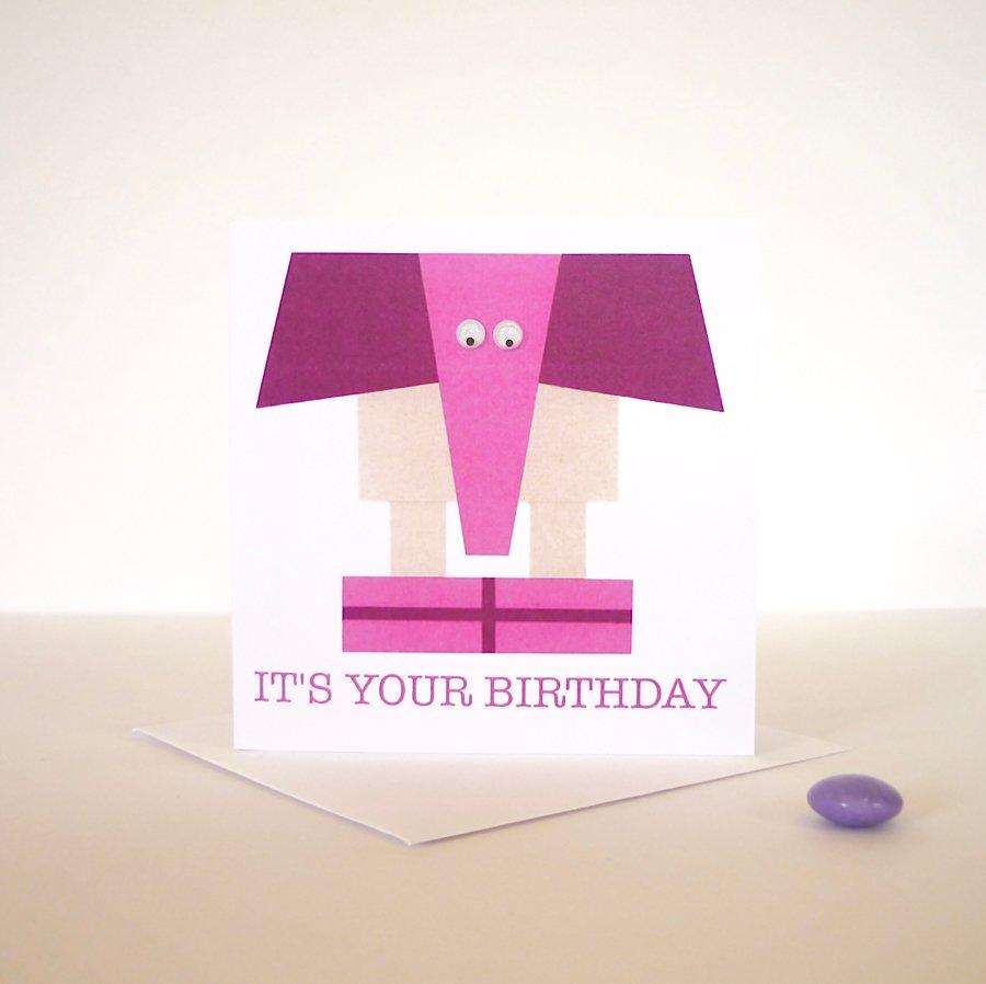 birthday hand finished greeting card elephant googly eyes