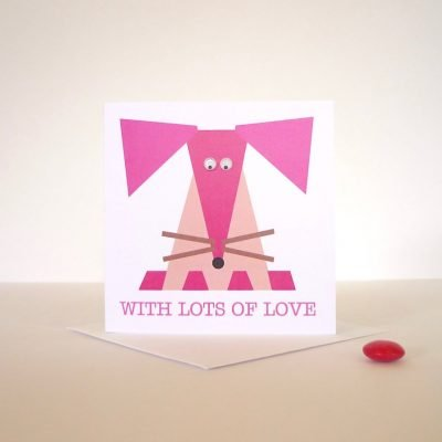 pink mouse hand finished greeting card googly eyes
