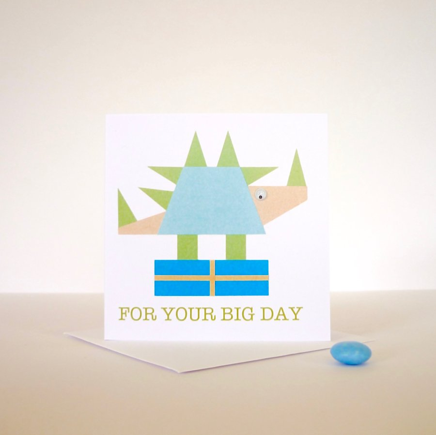 hand finished greeting card dinosaur googly eyes