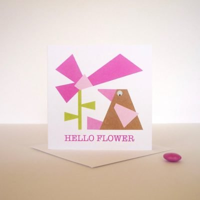 hello flower hand finished greeting card bird googly eyes