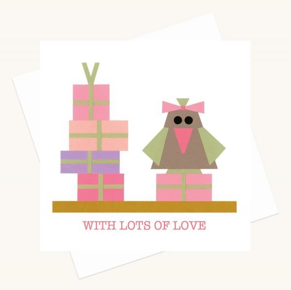 with lots of love greeting card bird with bow pink presents