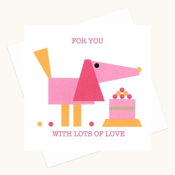 with lots of love greeting card pink dog pink cake
