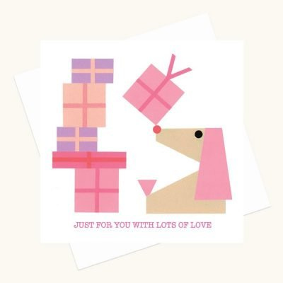 lots of love greeting card pink presents dog