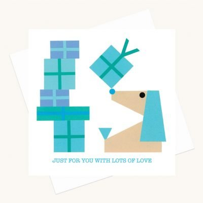 lots of love greeting card blue presents dog
