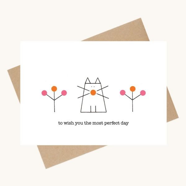 dotty message greeting card cat with flowers