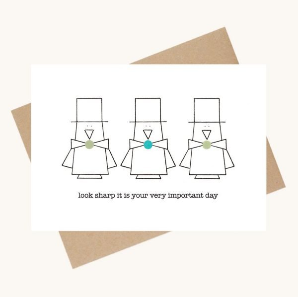 dotty message greeting card important day penguins with top hats