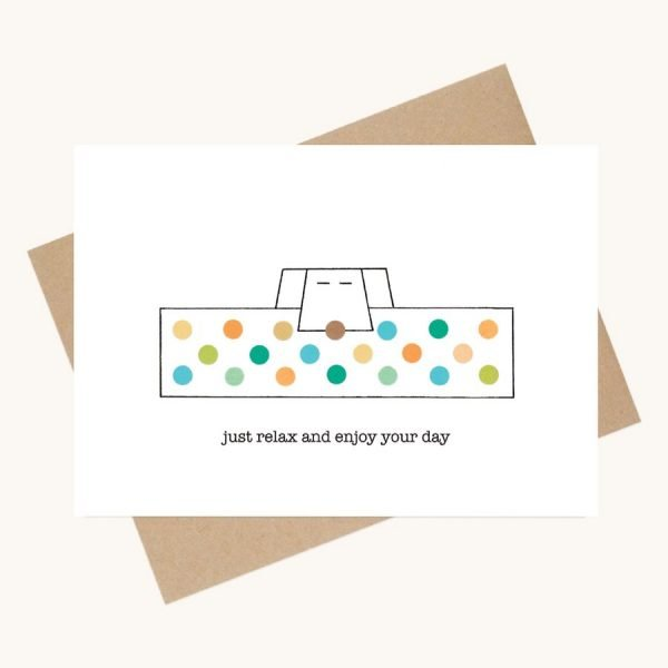 dotty message greeting card colourful dog in basket relax