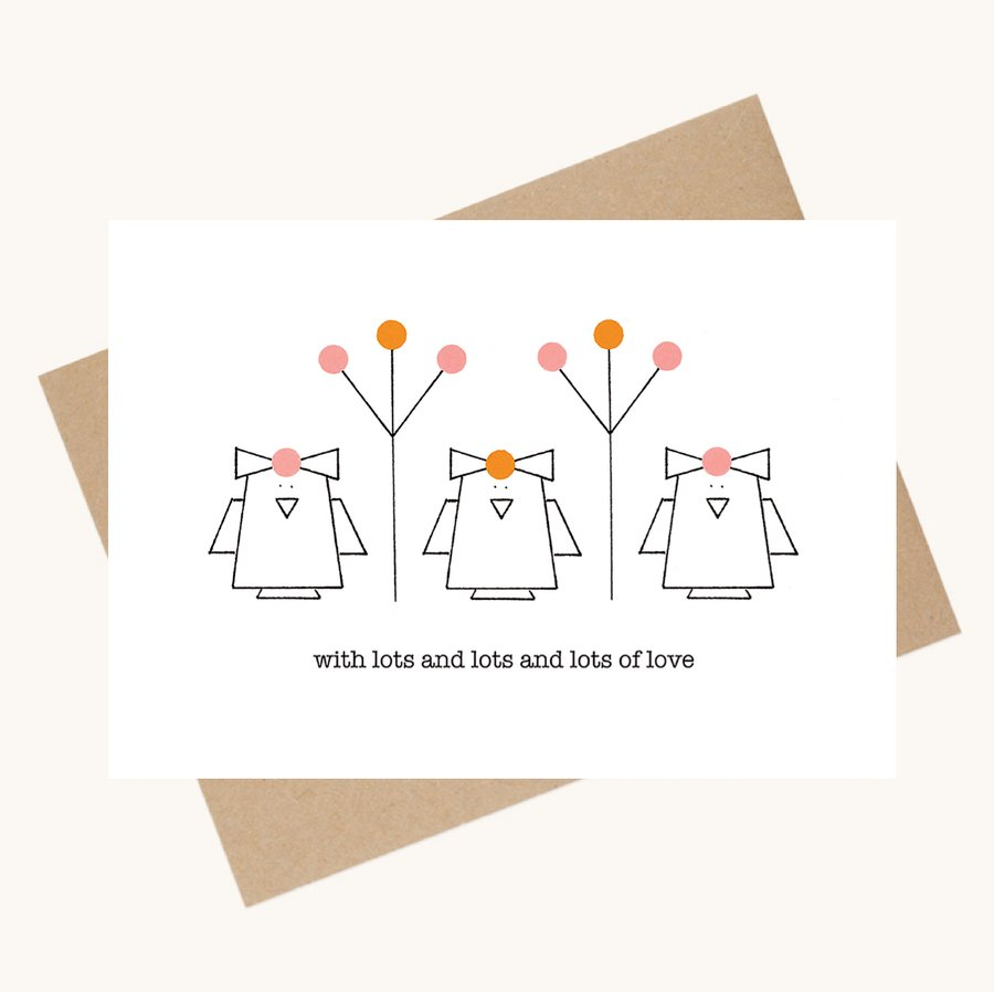 dotty message greeting card lots of love birds and flowers