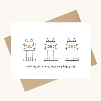 dotty message greeting card cats happy day