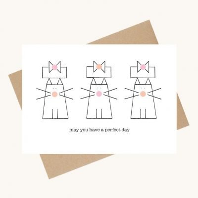 dotty message greeting card cats with presents