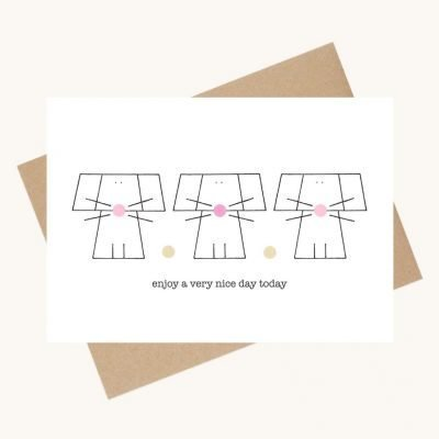 dotty message greeting card mice pink
