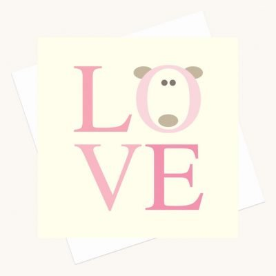 love greeting card bold lettering shades pink