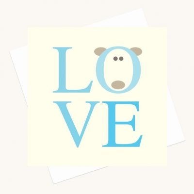 love bold lettering greeting card shades blue bear character