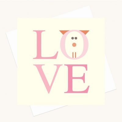 love bold lettering greeting card shades pink cat character