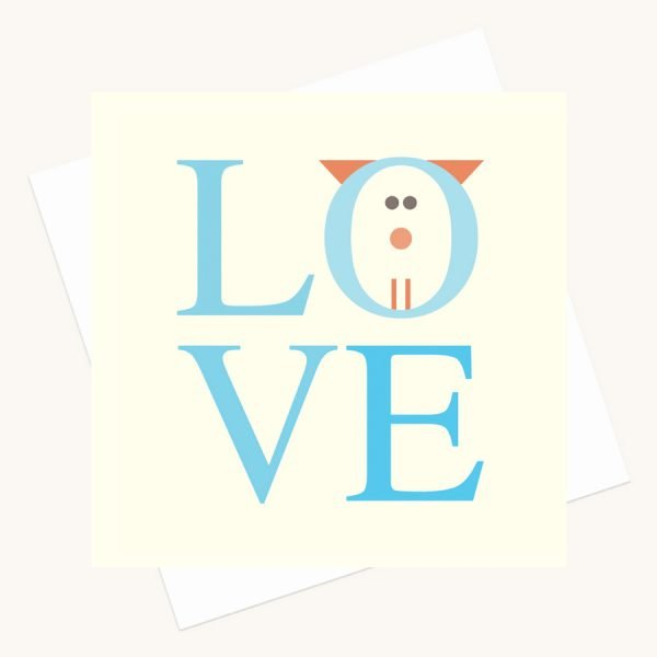 love bold lettering greeting card shades blue cat character