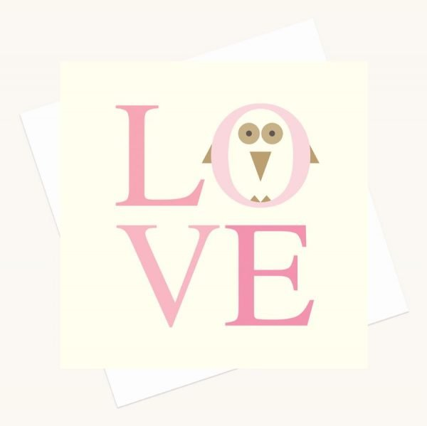 love bold lettering greeting card shades pink owl character