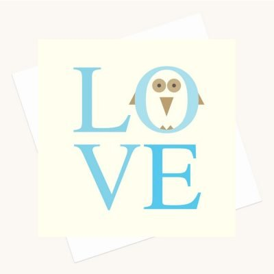 love bold lettering greeting card shades blue owl character