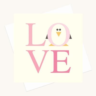 love bold lettering greeting card shades pink penguin character