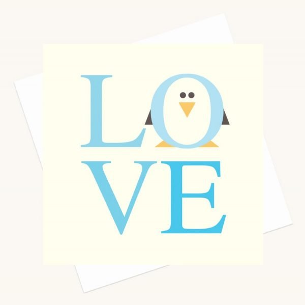 love bold lettering greeting card shades blue penguin character