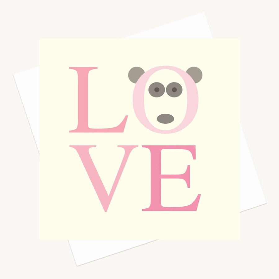 love bold lettering greeting card shades pink panda character