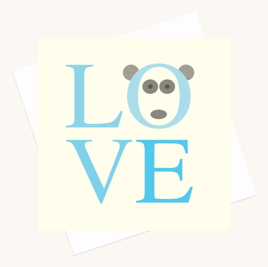 love bold lettering greeting card shades blue panda character