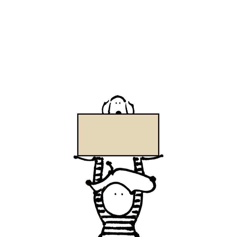 boy dog box illustration line drawing