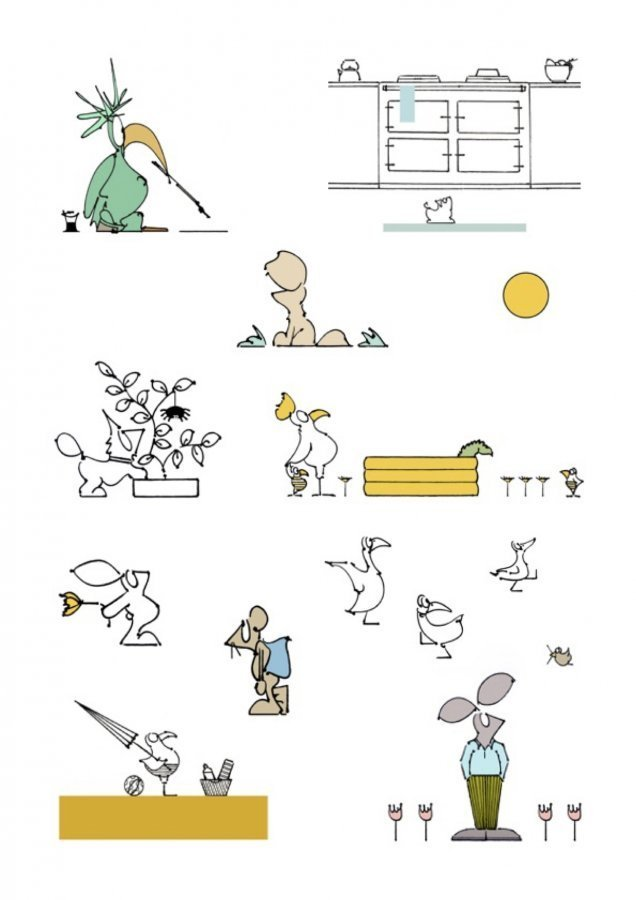 animal illustrations dogs rabbits mouse birds ducks seagull