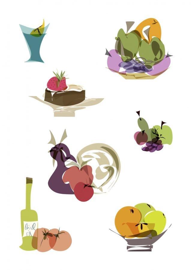 food illustrations series fruit vegetables pudding drink