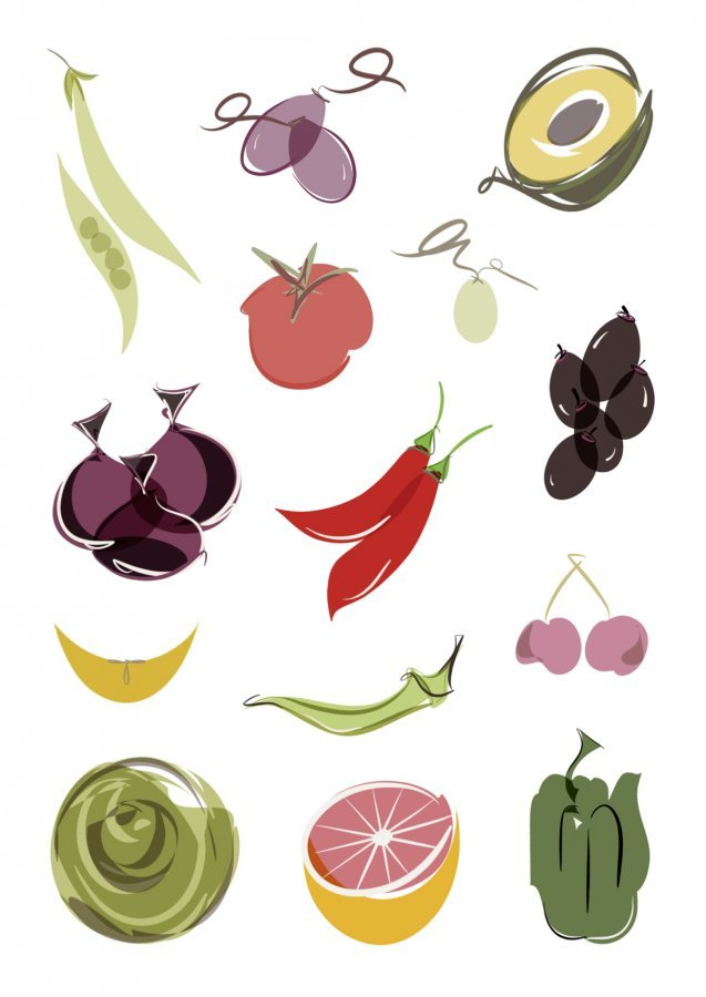 fruit vegetable series digital illustrations