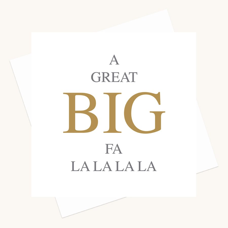 big message greeting card fa la la la la