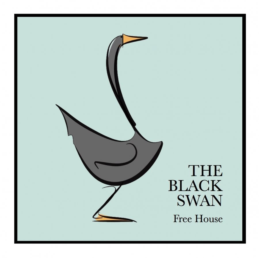 black swan public house logo concept