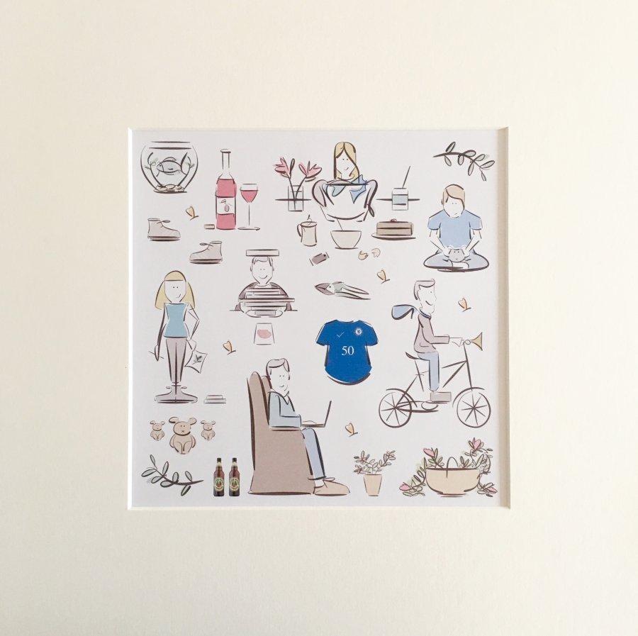 fiftieth birthday commission digital artwork