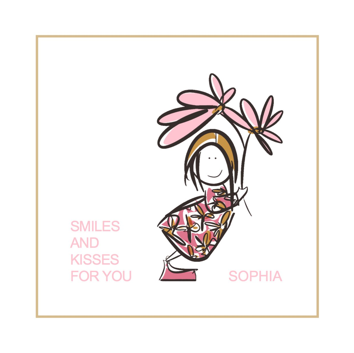 personalised smile print girl illustration