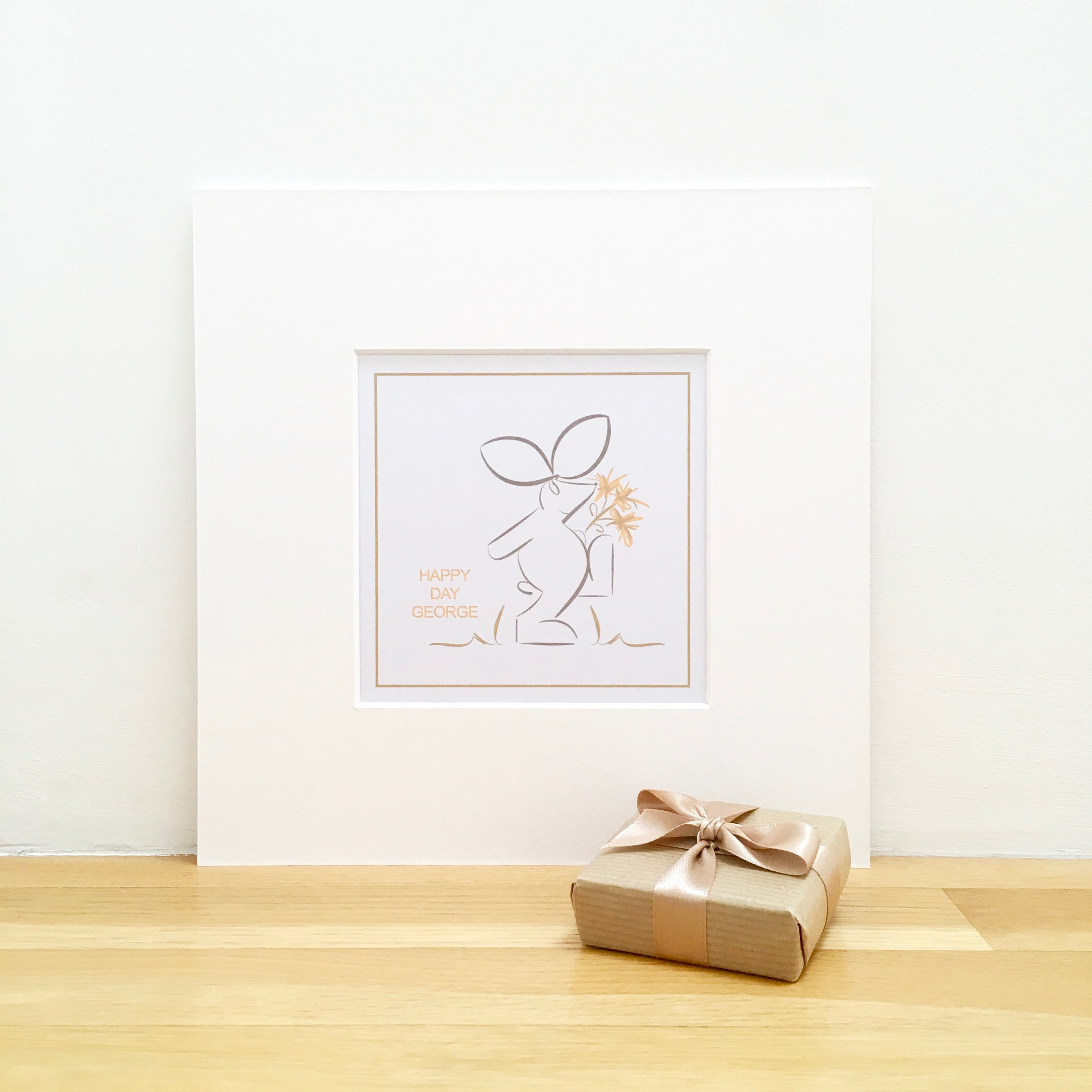 personalised smile print rabbit illustration