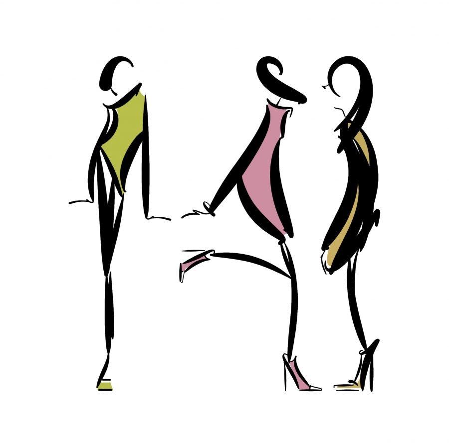 three figures fashion illustration lucy monkman