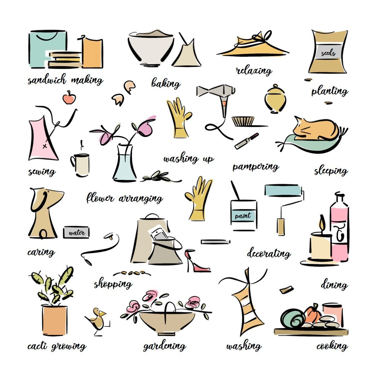 every day activities illustration