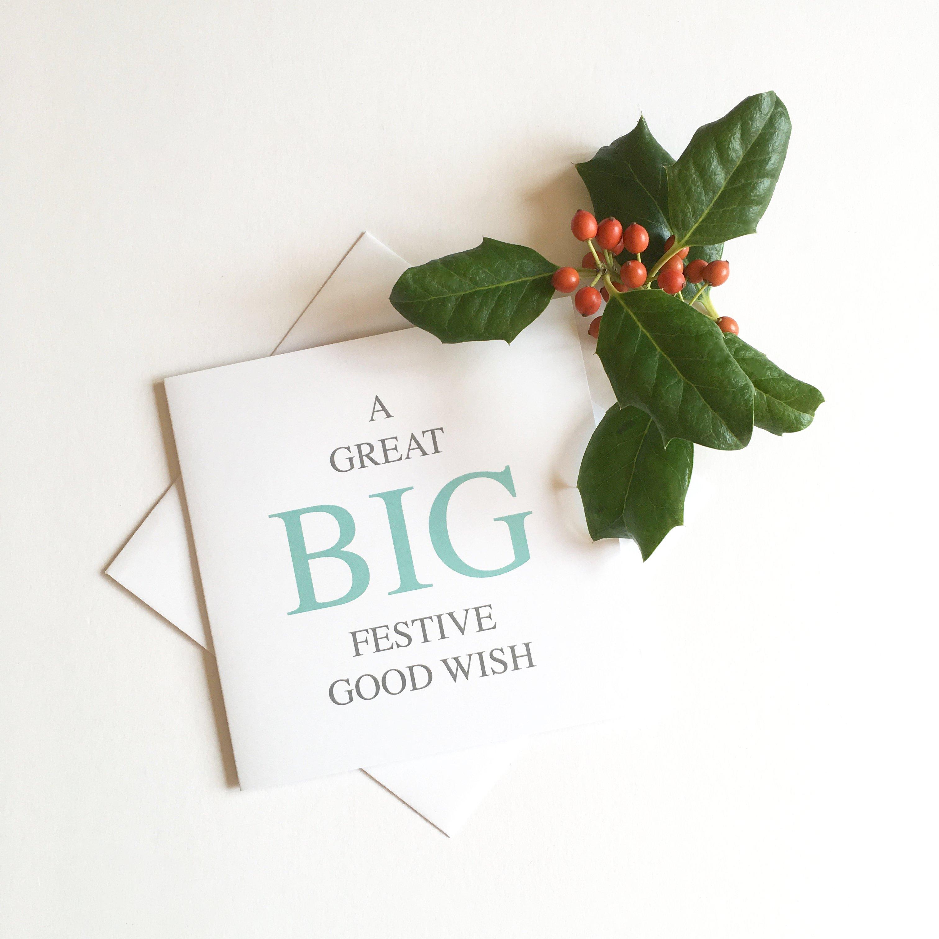 festive good wish big message greeting card