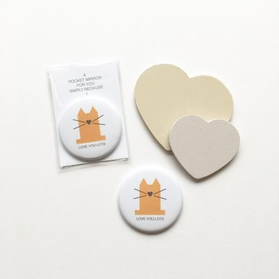 love you lots cat pocket mirror lucy monkman