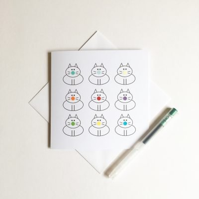 dots for cats cat greeting card rainbow colours lucy monkman